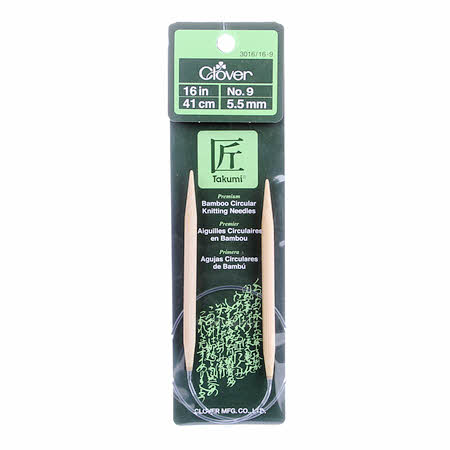 Clover Takumi Bamboo 16in Circular Knitting Needle Size 9